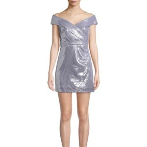 JAY X JAYGODFREY Off-the-Shoulder Sequin Mini Dres